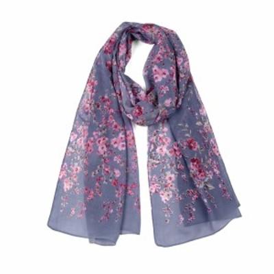 uxcell ロングスカーフ シフォン ショール ビーチ シルク スカーフ 花柄 デニムブルー 160x50cm