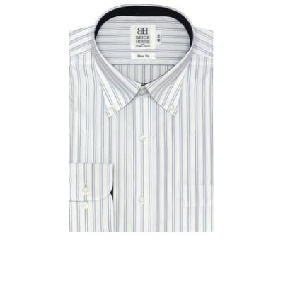 ワイシャツ 長袖 形態安定 ボタンダウン 白×ブルー、ブラウンストライプ スリム