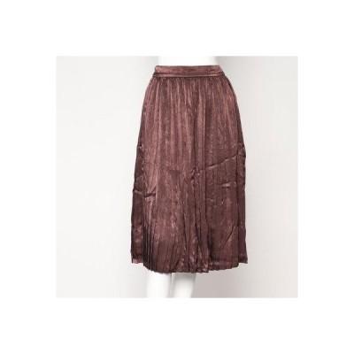 スタイルブロック STYLEBLOCK ヴィンテージサテンプリーツスカート (ブラウン)