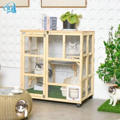 豪華別荘 猫かご 通気性 猫ペット 猫ハウス お手入れが簡単 キャットタワー コレクションケース 360度回転キャスター 自由に移動可 木製