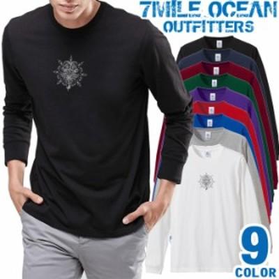 メンズ Tシャツ 長袖 ロングTシャツ ロンt プリント アメカジ 大きいサイズ 7MILE OCEAN クロス