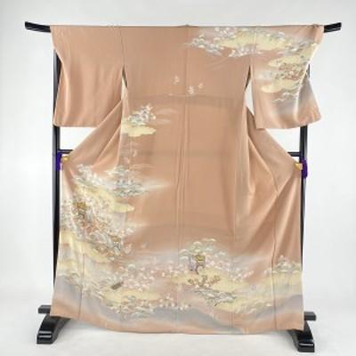 訪問着 美品 逸品 御所車 松竹梅 ぼかし 金糸 ピンク 袷 身丈168cm 裄丈70cm L 正絹 中古