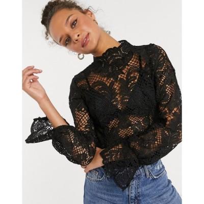 ガールインマインド おでかけトップス レディース Girl In Mind high neck all over lace sheer crop top in black エイソス ASOS ブラック 黒