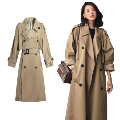トレンチコート レディース コート 春秋 ロング スプリングコート ゆったり アウター ファッション