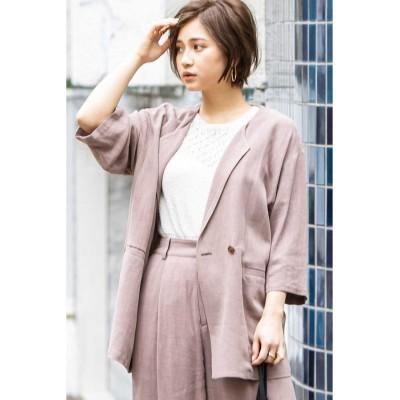 《Sシリーズ対応商品》麻レーヨンオーバーサイズジャケット ブラウン
