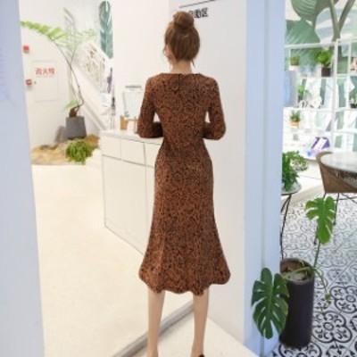 ドレス キャバドレス ミドルドレス ラウンドネック デザイン柄 タイト ひざ下丈 フィッシュテール フォーマル キャバ嬢