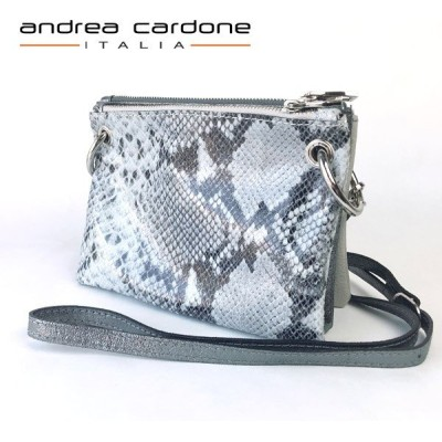 イタリア製 レディース バッグ andrea cardone ITALIA レザー 3bags ring ショルダーバッグ 本革 BAG アンドレア カルドーネ パイソン柄