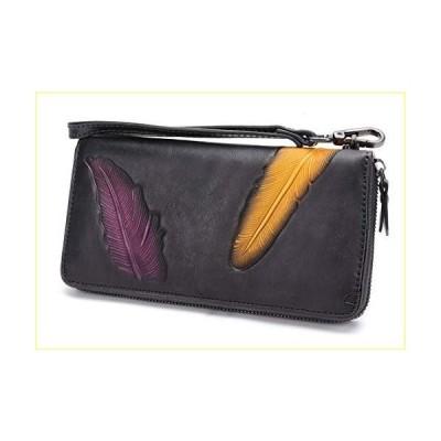 Women's Wallet Genuine Leather Zip Around Wristlet Long Purse Vintage Embossing Cowhide Capacity Handmade Clutch(Darkgrey)【並行輸入品