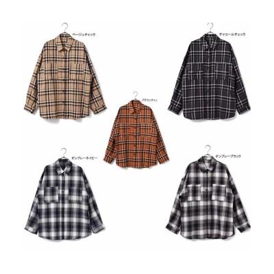 【アールエムストア】 TR先染めチェックボリュームシャツ レディース ブラック フリー RM STORE
