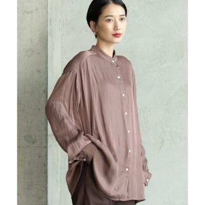 シャツ ブラウス バンドカラーサテンシャツ/Solace