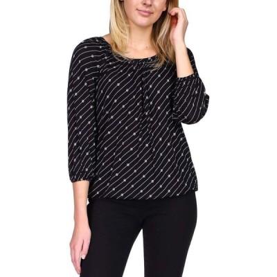 マイケル コース Michael Kors レディース トップス 七分袖 Logo-Print 3/4-Sleeve Top, Regular & Petite Sizes Black/White