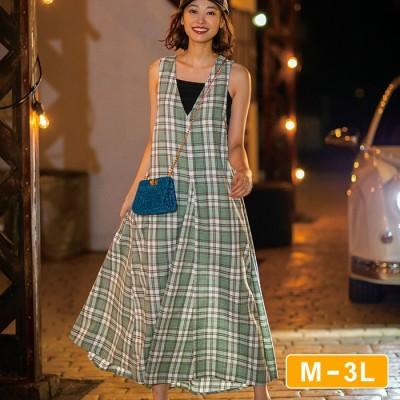 Ranan 【M~3L】綿混チェック柄ジャンスカ グリーン L レディース