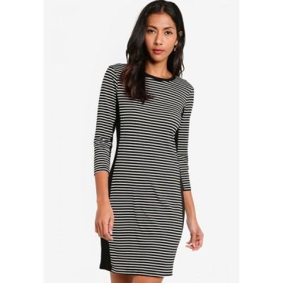 ザローラ ZALORA BASICS レディース パーティードレス ワンピース・ドレス Basic Stripe Dress With Block Panel Black/White Stripes/Black