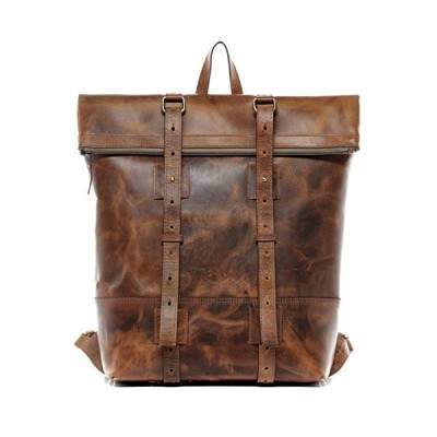 """SID & VAIN Backpack CHAZ XXL daybag knapsack Real Leather 15.6"""" Laptop Rucksack Leather Bag Men´s Bag Brown 並行輸入品"""