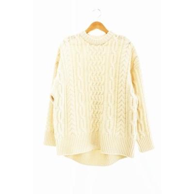【中古】ハイク HYKE 19AW fisherman sweater フィッシャーマン セーター 1 ベージュ ブランド古着ベクトル 中古 200926 0100