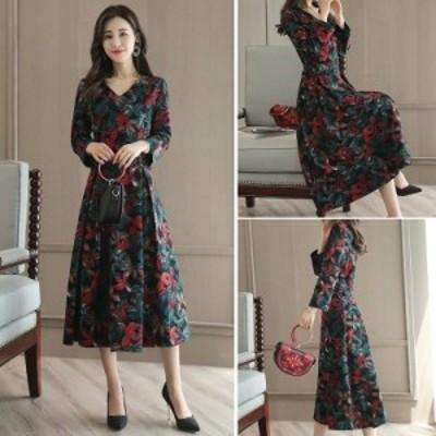 ドレス Vネック ワンピース ロング丈 長袖 花柄 大きいサイズ #0452