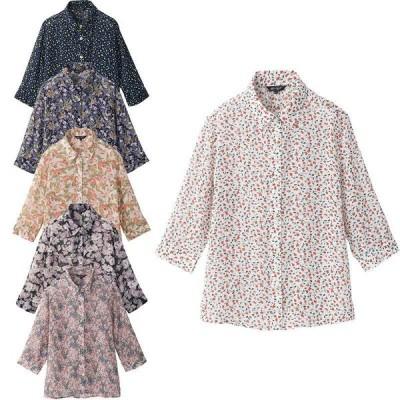 シニア服 80代 70代 60代 レディース 婦人服 高齢者 おばあちゃん 七分袖 シフォン 花柄プリント ブラウス