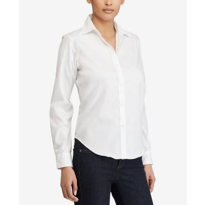 ラルフローレン カットソー トップス レディース Long-Sleeve Non-Iron Shirt, Regular & Petite Sizes White