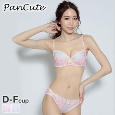(パンキュート)PANCUTE マーブルプリント ブラジャー ショーツ セット DEF 大きいサイズ