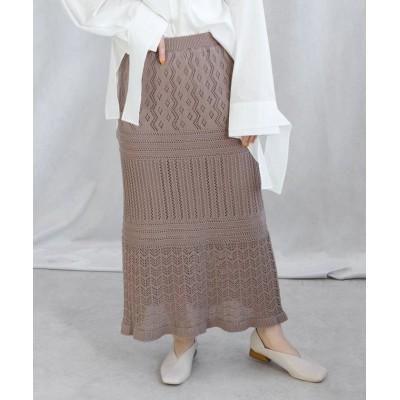 【アンドジェイ】 透かし編みクロシェロングスカート レディース モカ M ANDJ