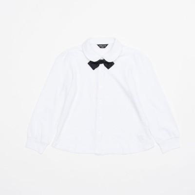 コムサイズム COMME CA ISM リボンタイ付き 長袖ブラウス(100-130サイズ) (ホワイト)