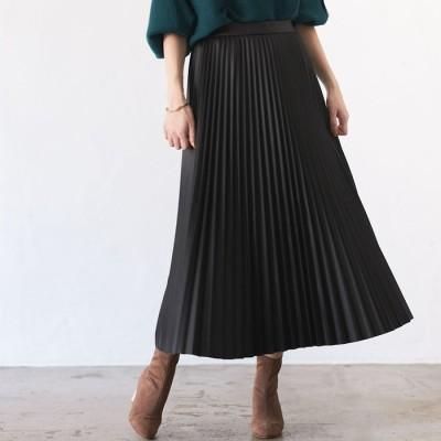 GeeRA 【WEB限定】エコレザープリーツスカート ベージュ M レディース