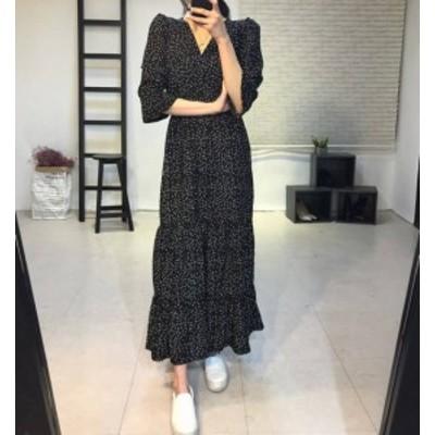 ドット柄 ワンピース ロング丈 Vネック カシュクール フレア袖 大人可愛い レディース ファッション 韓国 オルチャン