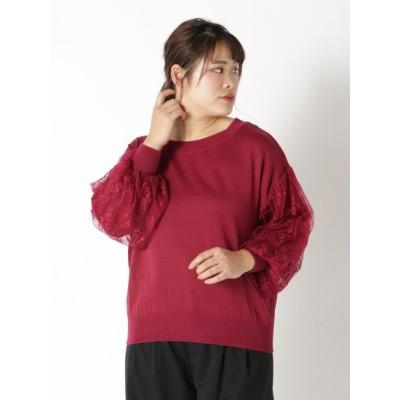 【大きいサイズ】【L-3L】ボリュームレース袖ニット 大きいサイズ トップス・チュニック レディース