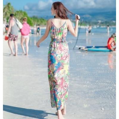 夏 新しい ワンピース スリング スタイル 背中 ロングワンピ 海辺 休日 ビーチ ビーチウェア 旅行 体型カバー