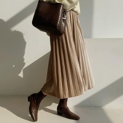 114317ベルベットプリーツベルトセットロングスカート[ontheriver] 送料0円! 大人可愛いデイリールック。韓国ファッションNo.1