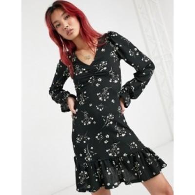 リバーアイランド レディース ワンピース トップス River Island ruffle hem floral mini dress in black Black