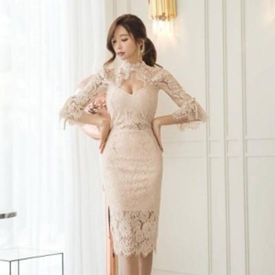 韓国 パーティードレス オルチャン ドレス 結婚式 お呼ばれ ドレス フォーマル ドレス パーティー ドレス 20代 30代 40代 5分丈袖 レース