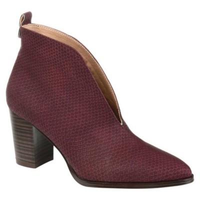 ジャーニーコレクション ブーツ&レインブーツ シューズ レディース Bellamy Pointed Toe Ankle Bootie (Women's) Wine Faux Leather