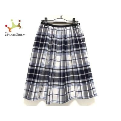 マーガレットハウエル スカート サイズ2 M レディース 白×グレー×マルチ チェック柄 新着 20201006