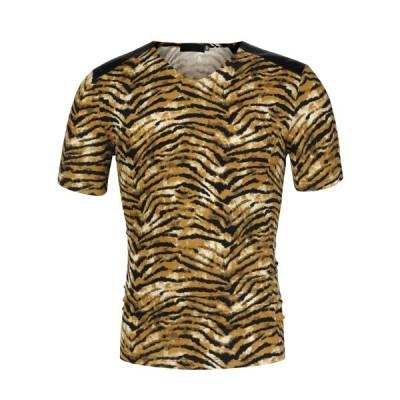 uxcell Lars Amadeus ヒョウ柄 Tシャツ Vネック 半袖 PUパネル スリム 夏 メンズ イエローブラック S