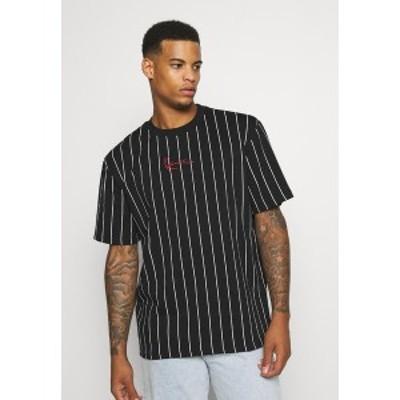 カール カナイ メンズ Tシャツ トップス SMALL SIGNATURE PINSTRIPE TEE UNISEX - Print T-shirt - black/white black/white