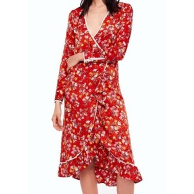 Free People フリーピープル ファッション ドレス Free People NEW Red Womens Size 2 Covent Garden Midi Wrap Dress