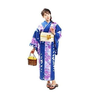 浴衣 レディース 兵児帯 2点 セット 八重桜(紺 白×紫)フリーサイズ x08-04 B104