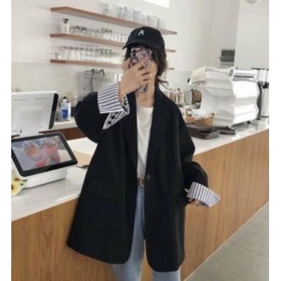 韓国 ファッション レディース テーラードジャケット アウター ビッグシルエット ストライプ ゆったり レトロ 大人可愛い カジュアル シ