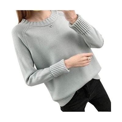 [ビッグバレー] セーター レディース ニット クルーネック トップス チュニック 秋 冬 服 大きいサイズ カットソー 長袖 (グレー M)