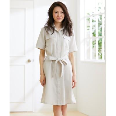 接触冷感麻調合繊5分袖シャツワンピース(共布リボン。ペチコート付) (ワンピース)Dress