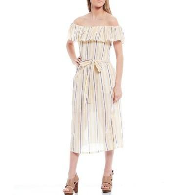 マイケルコース レディース ワンピース トップス MICHAEL Michael Kors Vacay Stripe Lurex Crinkle Off-The Shoulder Belted Dress Saffron