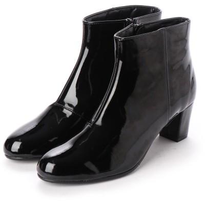 バニティービューティー VANITY BEAUTY 【晴雨兼用仕様】プレーンショートブーツ (ブラックエナメル)