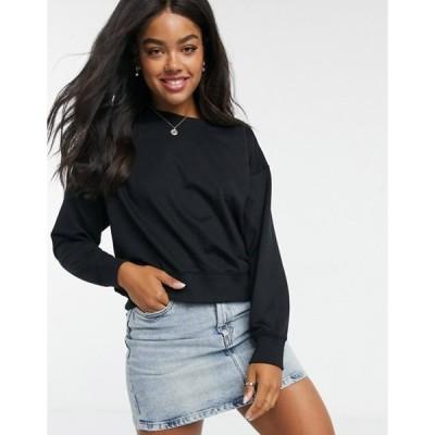 ニュールック レディース シャツ トップス New Look sweatshirt in black