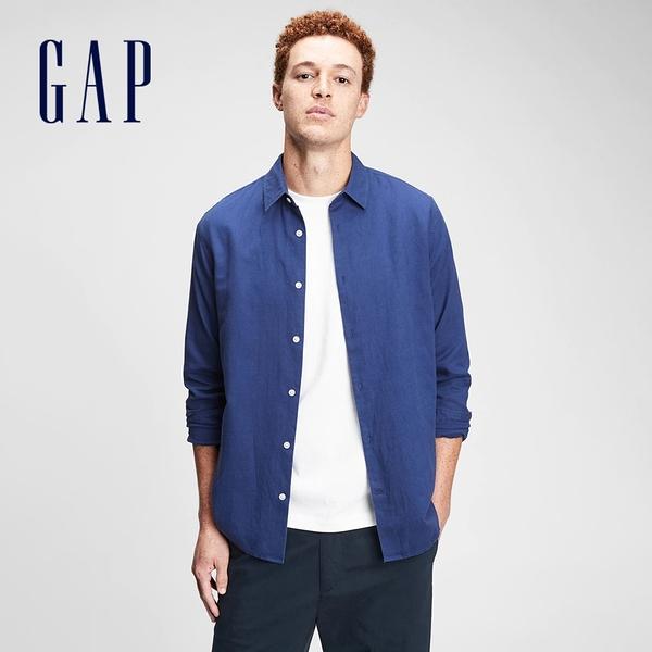 Gap男裝 亞麻混紡休閒長袖襯衫 807444-深藍色