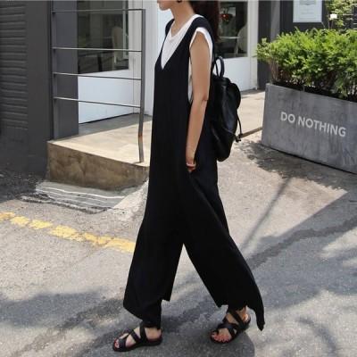 オールインワン セットアップ レディース ファッション 春 夏 ゆったり 大きいサイズ 体型カバー 学生 カジュアル 綿
