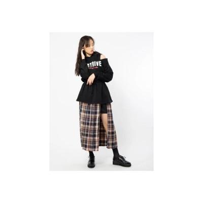 セシルマクビー CECIL McBEE レイヤード風チェックプリーツスカート (ベージュ)
