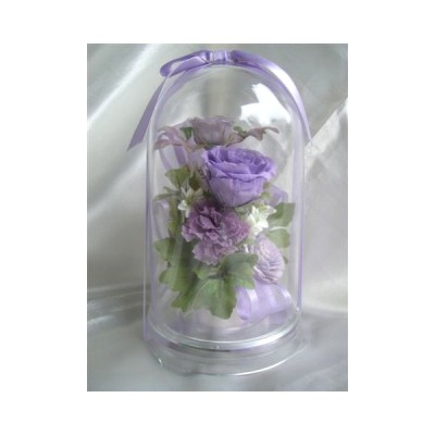 ドーム入 ローズガーデン 紫のバラのアレンジ プリザーブドフラワー
