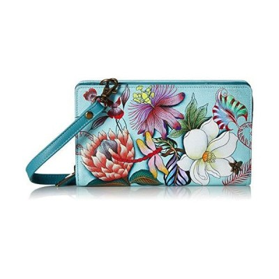 Anuschka Women's Genuine Leather Organizer Wallet - Hand Painted Original Artwork - Jardin Bleu【並行輸入品】