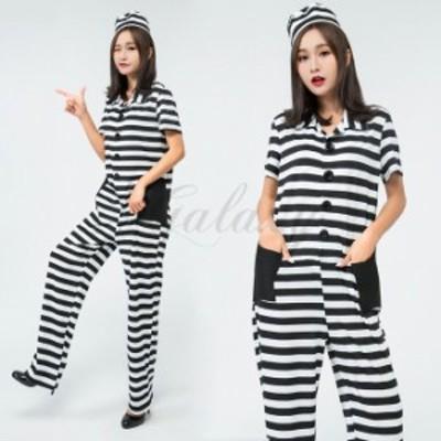 ハロウィン 囚人服 泥棒 オールインワン 犯人 監獄 手錠付き セクシー コスチューム コスプレ衣装 ps3489
